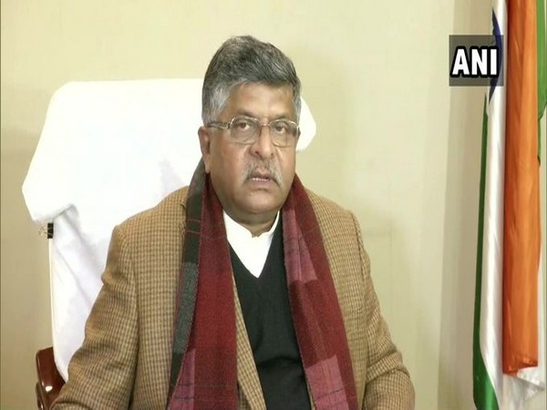 Union Minister Ravi Shankar Prasad speaking to reporters in New Delhi on Wednesday. Photo/ANI