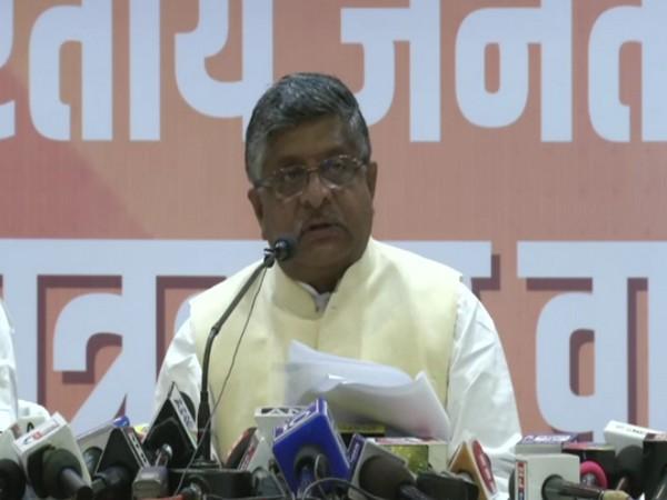 Ravi Shankar Prasad addressing a press conference in Patna on Friday.
