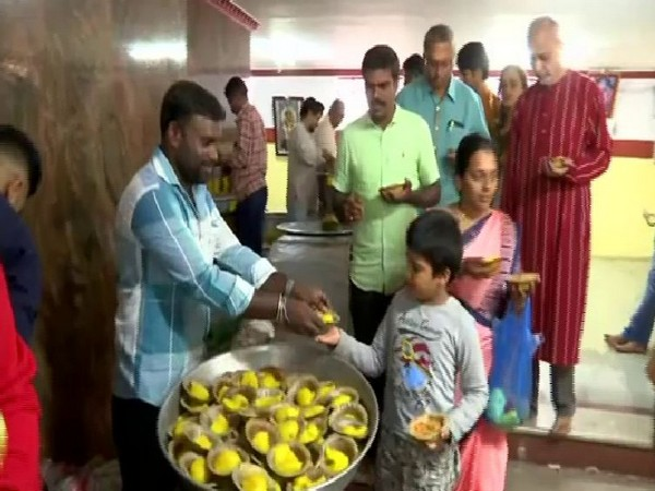 Prasad being offered at the occasion of Ganesh Chaturthi at Dodda temple in Bengaluru