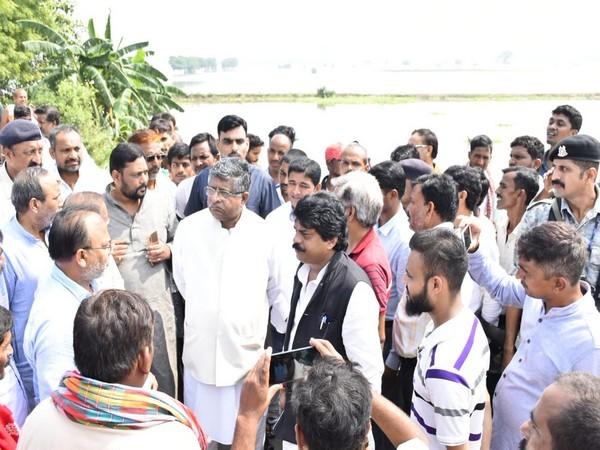 Union Minister Ravi Shankar Prasad visited Tanapur village in Patna district, Bihar on Sunday. (Photo/ANI)