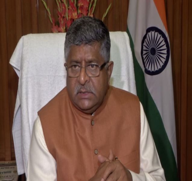 Union Minister Ravi Shankar Prasad talking to media persons in New Delhi on Monday