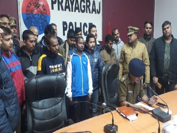 Exam question paper solver gang produced before media by police in Prayagraj, Uttar Pradesh on Wednesday.