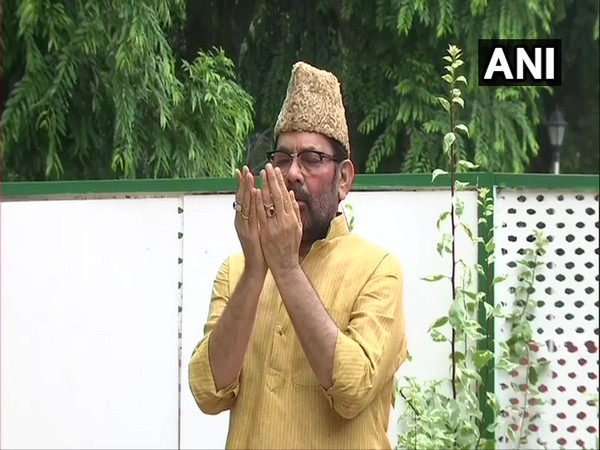 Union Minister Mukhtar Abbas Naqvi offered prayers at his residence in Delhi on Bakra Eid. (Photo/ANI)