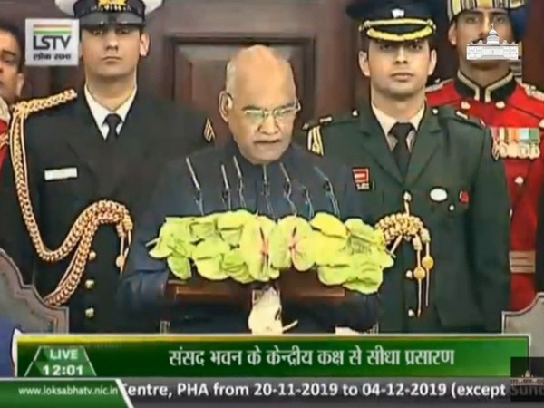 President Ram Nath addressing joint sitting of two houses of Parliament on Tuesday. Photo/ANI