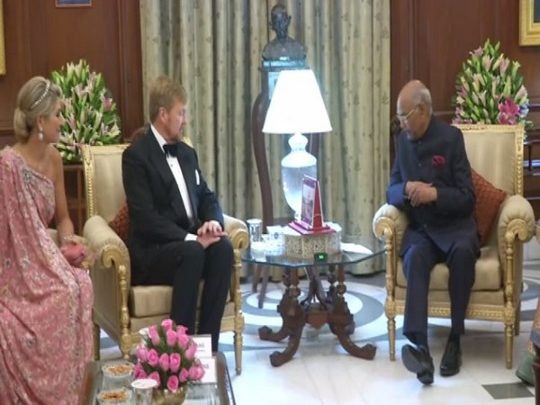President Ram Nath Kovind with Dutch King Willem-Alexander and Queen Maxima at the Rashtrapati Bhawan in New Delhi on Monday.