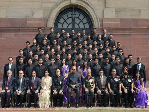 President Ram Nath Kovind with the trainee-officers of Military Engineer Service at Rashtrapthi Bhawan on Tuesday. (Courtesy-President of India Twitter)