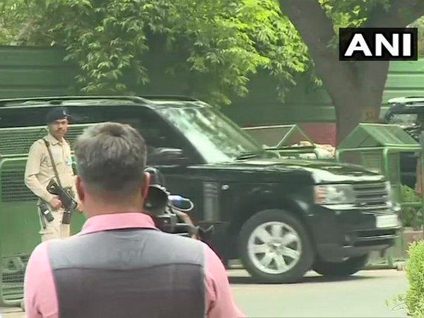 Priyanka Gandhi Vadra leaves from Congress President Rahul Gandhi's residence in Delhi.