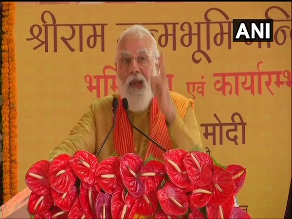 Prime Minister Narendra Modi speaking at the Ram Janmabhoomi site in Ayodhya on Wednesday. (Photo/ANI)