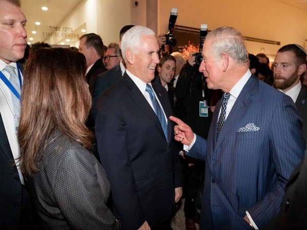 An image shared by Mike Pence's press secretary Katie Waldman on Twitter, showing Prince Charles and Mike Pence sharing a laugh at the World Holocaust Forum in Jerusalem