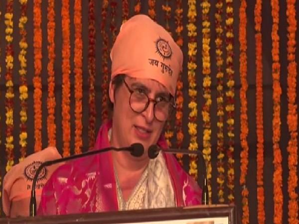 Congress leader Priyanka Gandhi Vadra speaking at an event in Varanasi, Uttar Pradesh on Sunday.