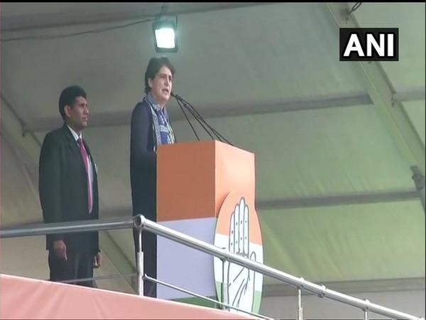 Congress leader Priyanka Gandhi Vadra addressing rally at Ramlila Maidan in New Delhi.