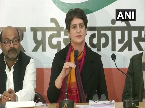 Congress leader Priyanka Gandhi Vadra addressing a press conference in Lucknow on Monday. Photo/ANI