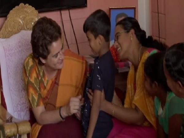 Congress leader Priyanka Gandhi Vadra meeting family members of Pulwama martyr in Wayanad, Kerala on Sunday. Photo/ANI