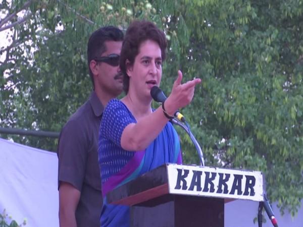 Congress leader Priyanka Gandhi Vadra at a public gathering in Raebareli on Monday. Photo/ANI