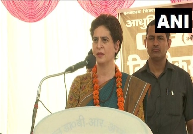 Priyanka Gandhi Vadra speaking at a public rally in Raebareli, Uttar Pradesh on Tuesday. Photo/ANI