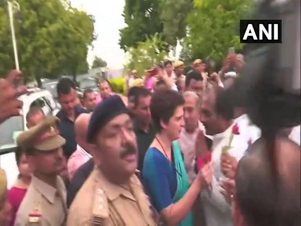 Congress leader Priyanka Gandhi Vadra arrives in Varanasi.