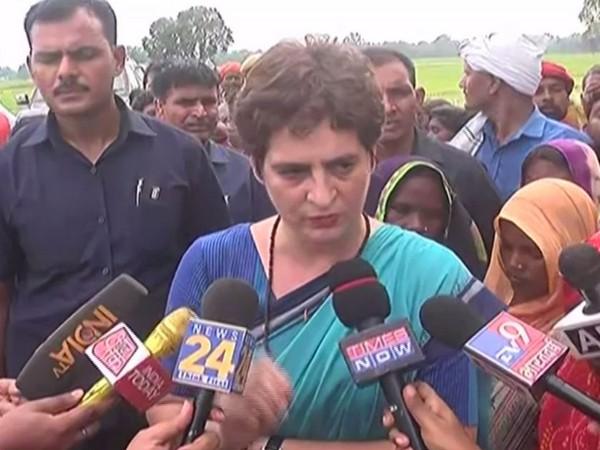 Priyanka Gandhi Vadra speaking to media in Sonbhadra, UP, on Tuesday. Photo/ANI