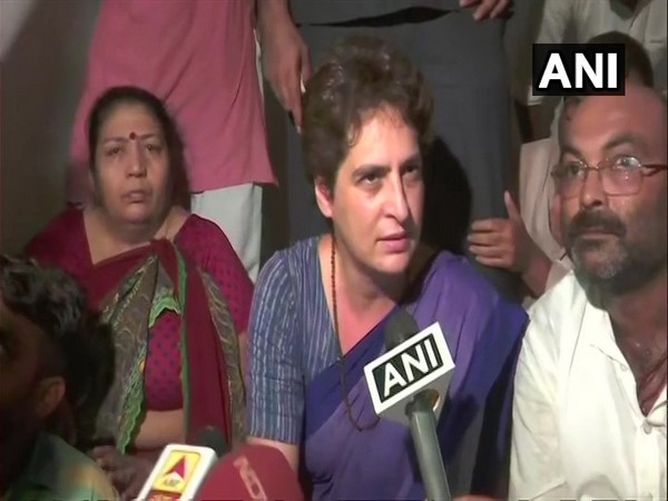 Priyanka Gandhi Vadra talking to reporters at Mirzapur on Friday