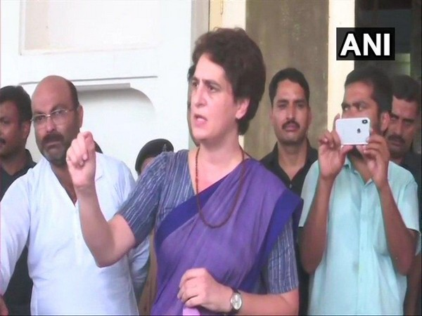 Congress general secretary Priyanka Gandhi addressing media persons at Chunnar Guest House in Mirzapur on July 19. (Photo/ANI)