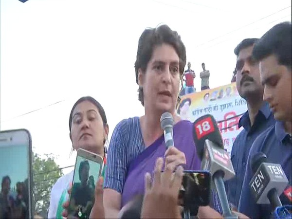 Priyanka Gandhi Vadra delivering a speech in Ghaziabad on Friday.