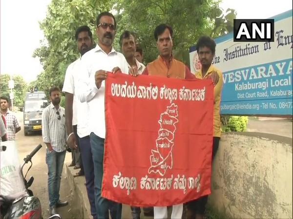 Kalyana Karnataka workers protest near Sardar Vallabha Bhai Patel circle in Kalaburagi on Friday. Photo/ANI