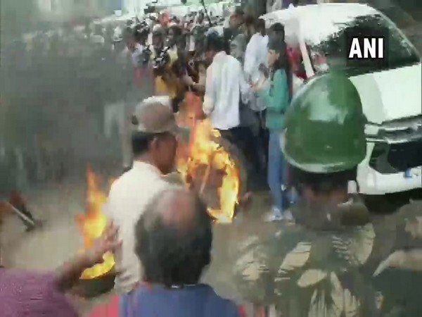 A visual from the protest in Bengaluru on Wednesday. Photo/ANI