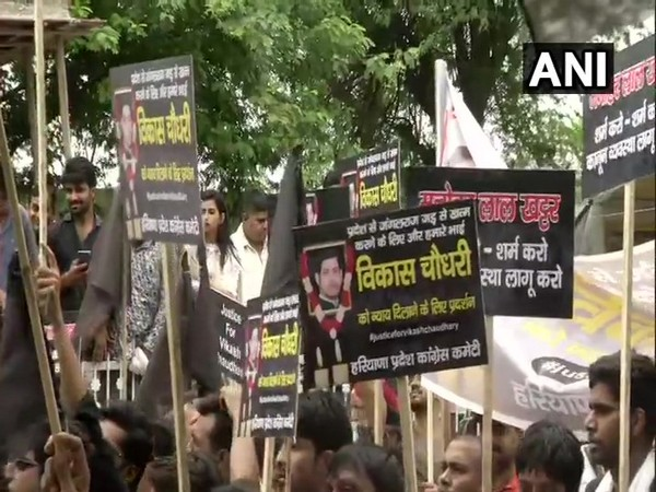 Visuals from the protest outside BK Hospital over Vikas Chaudhary's murder in Faridabad. (Photo: ANI)