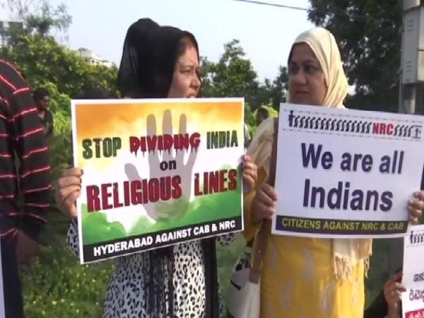 Protest in Hyderabad, Telangana on Sunday. Photo/ANI