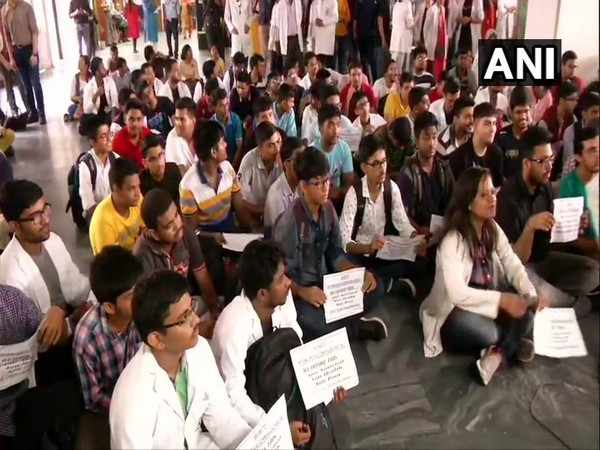 Resident doctors sit on strike in AIIMS (All India Institute Of Medical Sciences) against National Medical Commission (NMC) Bill, 2019
