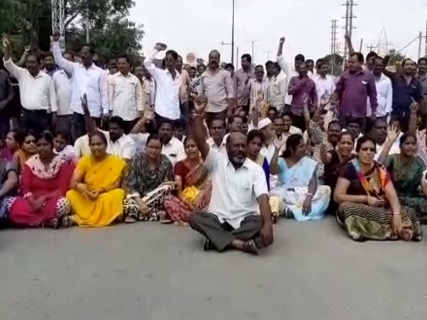 Visuals from RTC employees' protest in Hyderabad on Sunday. Photo/ANI