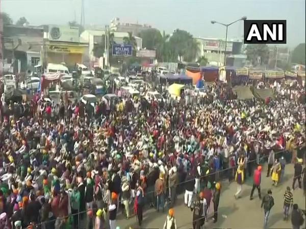 Visual of protesting farmers at Singhu border (File Photo/ANI)