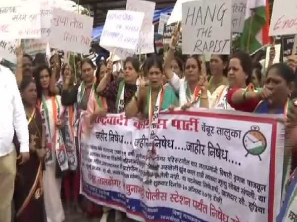 Visuals of protest against the nonarrest of the gang-rape accused in Mumbai, Maharashtra on Friday.