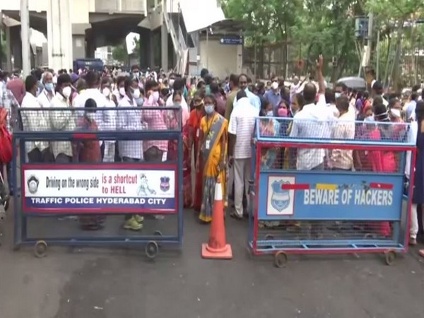 Outsourcing employees stage protest at Gandhi Hospital. (Photo/ANI)