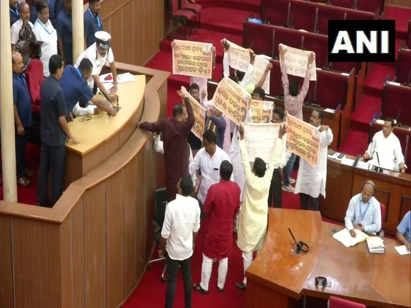 BJP and Congress MLAs protest inside Odisha Assembly on Thursday