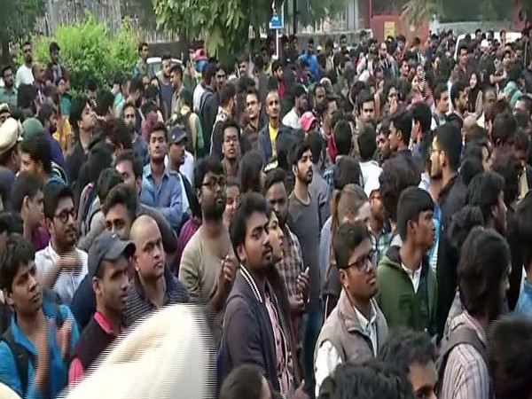 Protestors during the protest organised by JNUSU in New Delhi on Monday. Photo/ANI