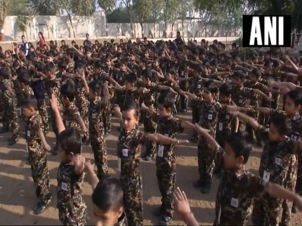 Students donned in Pt dress similar to Army Uniform at a School in Surat