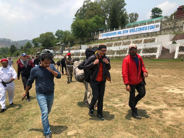The rescued mountaineering team members at Pithoragarh on Sunday. (Photo/ANI)