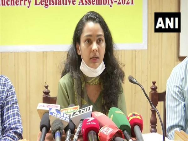 Puducherry District Collector Purva Garg speaking to media.