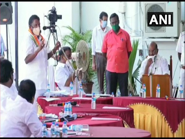 A picture of assembly session conducted outside the assembly hall in Puducherry. Photo/ANI