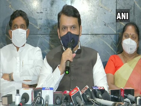 BJP leader Devendra Fadnavis addressing a press conference in Pune on Tuesday.