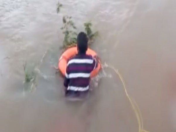 The man rescued was an NDRF team. Photo/ANI