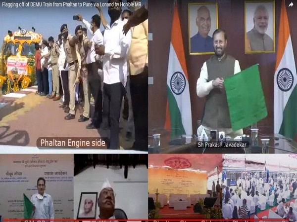 Prakash Javadekar flags off the DEMU train from Phaltan to Pune through a video conference.