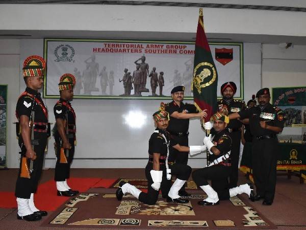 Southern Command Territorial Army Banner awarded to 154 Infantry Battalion (Territorial Army) Bihar in Pune.