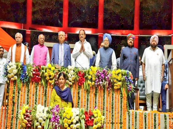 Vice-President M Venkaiah Naidu, chief ministers of Punjab and Haryana along with others present in Punjab Assembly on Wednesday. Photo/Twitter@VPSecretariat