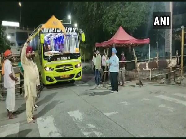 First lot of Sikh pilgrims from Maharashtra's Nanded returning to Punjab on Sunday morning.