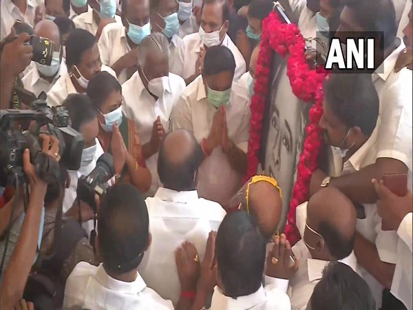MK Stalin pays floral tribute to DMK founder, former Tamil Nadu CM CN Annadurai. (Photo/ANI)