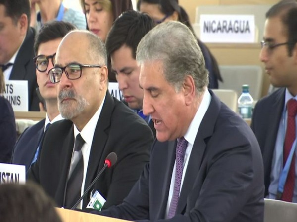 Pakistan Foreign Minister Shah Mehmood Qureshi speaking at UNHRC