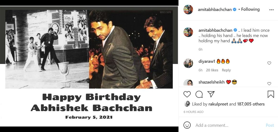 Amitabh Bachchan wrote on Instagram, congratulating Abhishek on his birthday | Nitidina