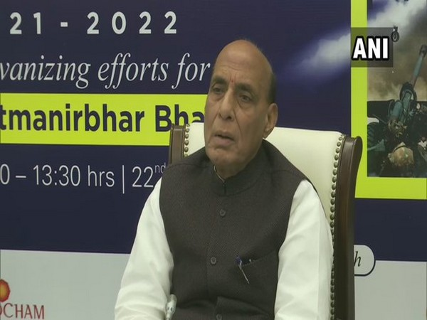 Defence Minister Rajnath Singh addressing a Webinar on 'Budget Announcements 2021-22' on Monday.