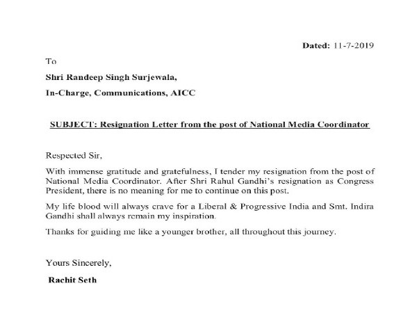 Copy of Rachit Seth's resignation letter as National Media Coordinator of Congress party